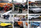 مصدوم شدن 11 نفر به دلیل انحراف کامیون و برخورد با ۸ خودرو در رشت